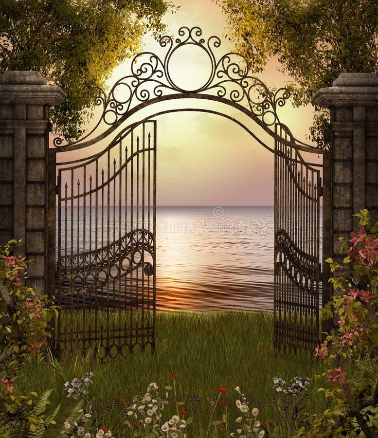 Beautiful Sea View through Gate. 3D render of a beautiful sea view through a gate from an enchanting garden stock illustration
