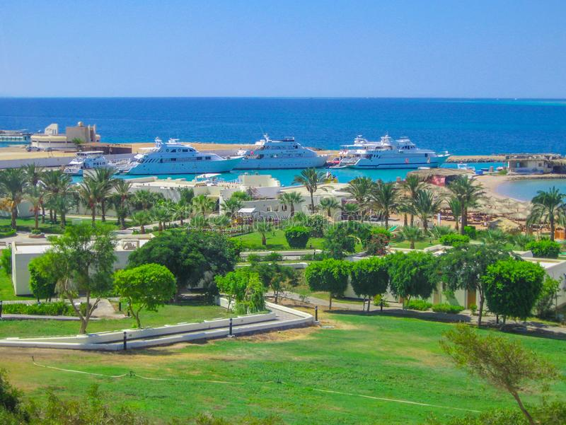 Beautiful sea view in Hurghada on the waterfront, on the Red Sea .june2012 stock photo