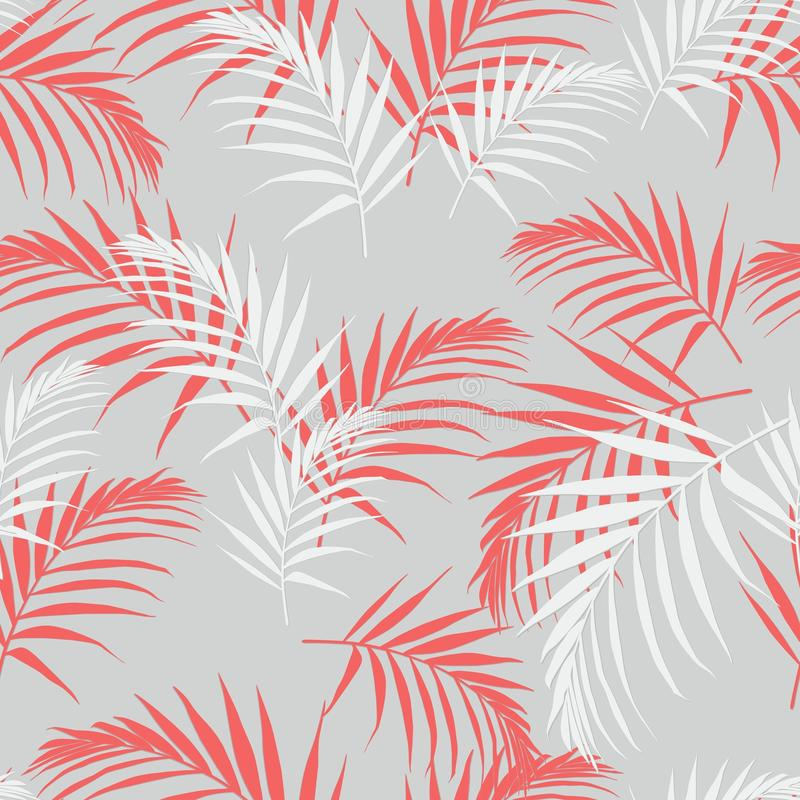 Beautiful seamless abstract floral pattern with palm orange leaves. Perfect for wallpapers, web page backgrounds. vector illustration