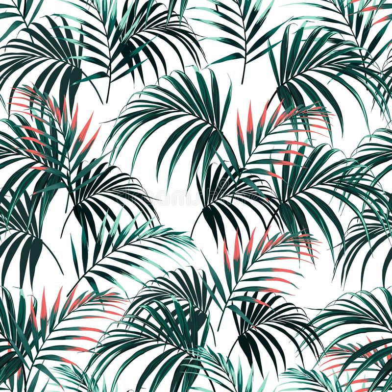 Beautiful seamless abstract floral summer pattern background with tropical palm orange leaves. royalty free illustration