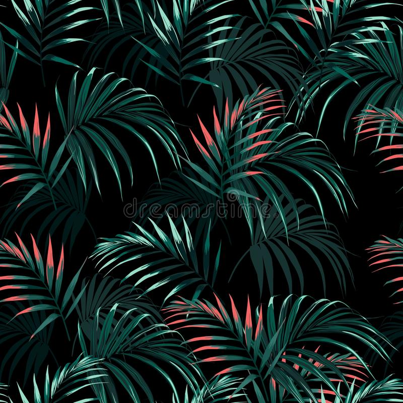 Beautiful seamless abstract floral summer pattern background with tropical palm orange leaves. vector illustration