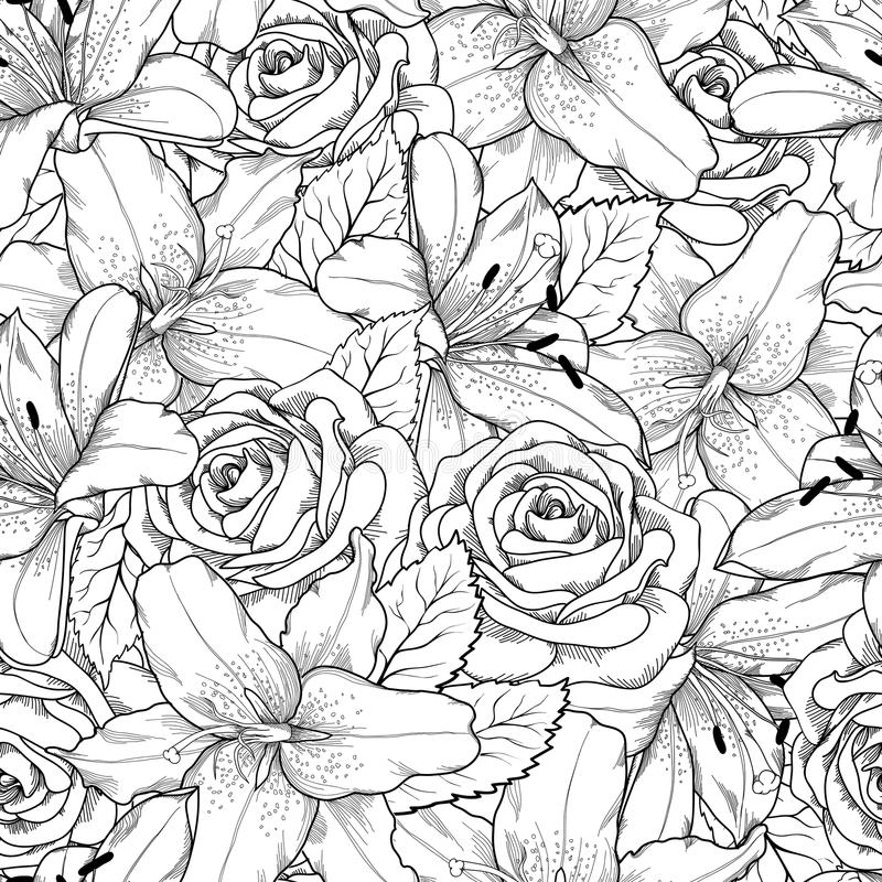 Beautiful seamless background with black and white lily and roses stock illustration