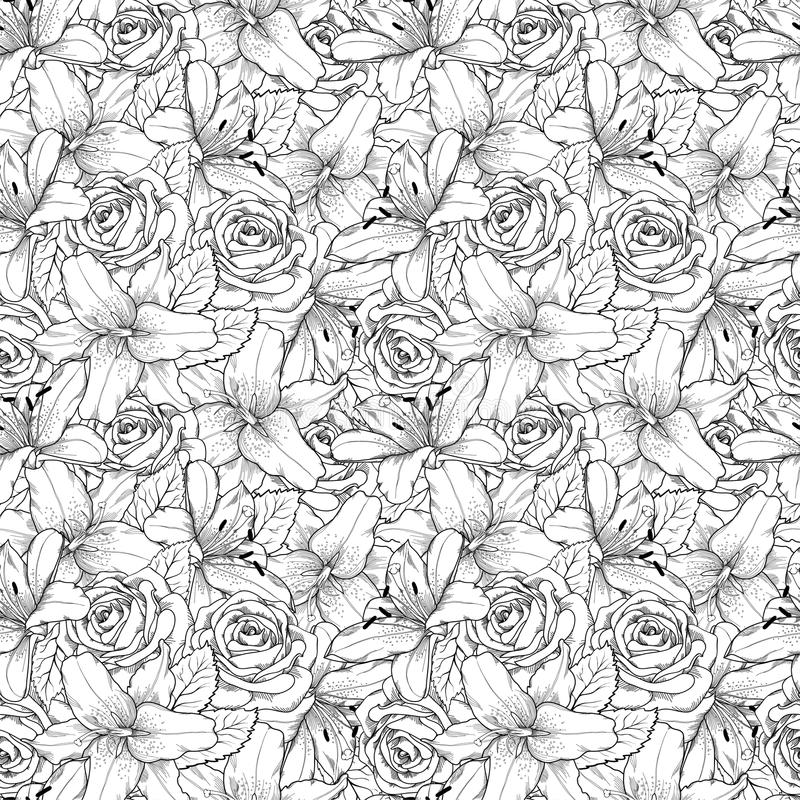 Beautiful seamless background with black and white lily and roses . Hand-drawn contour lines and strokes. vector illustration