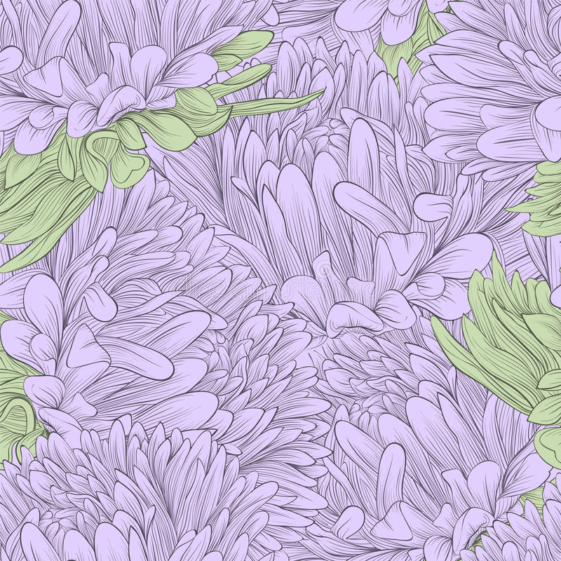 Free Beautiful Seamless Background With Lilac Flowers Aster Royalty Free Stock Photos - 38191398