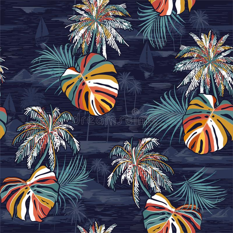 Beautiful seamless colorful palm leaves island pattern on monotone Landscape with palm trees,beach and ocean  vector hand drawn. Style on dark navy blue color vector illustration