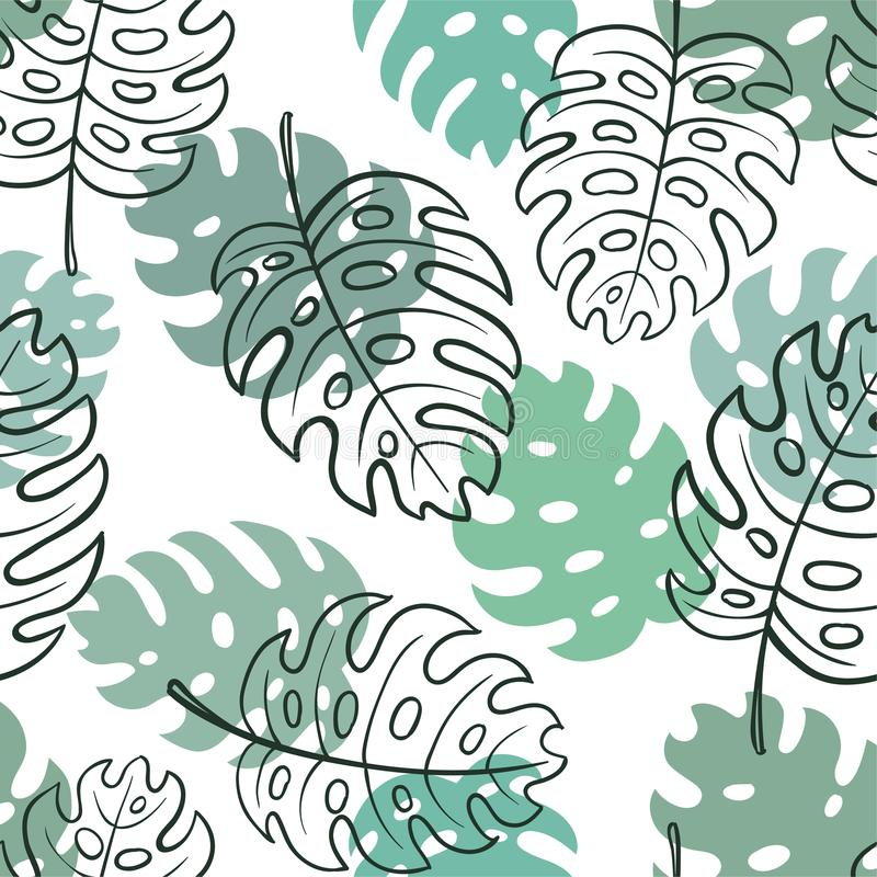 Beautiful seamless doodle pattern with vintage monstera leaves sketch. design for holiday greeting card and invitation of seasonal. Summer holidays, summer vector illustration