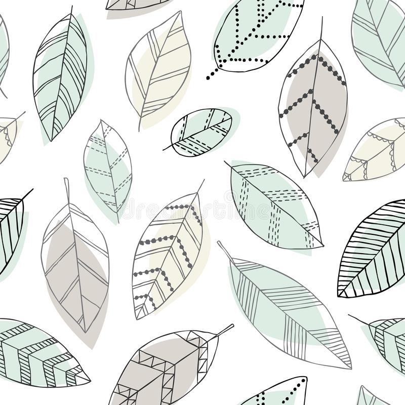 Free Beautiful Seamless Doodle Pattern With Vintage Leaves Sketch. Design Background Greeting Cards And Invitations To The Wedding, Bir Stock Image - 113135671