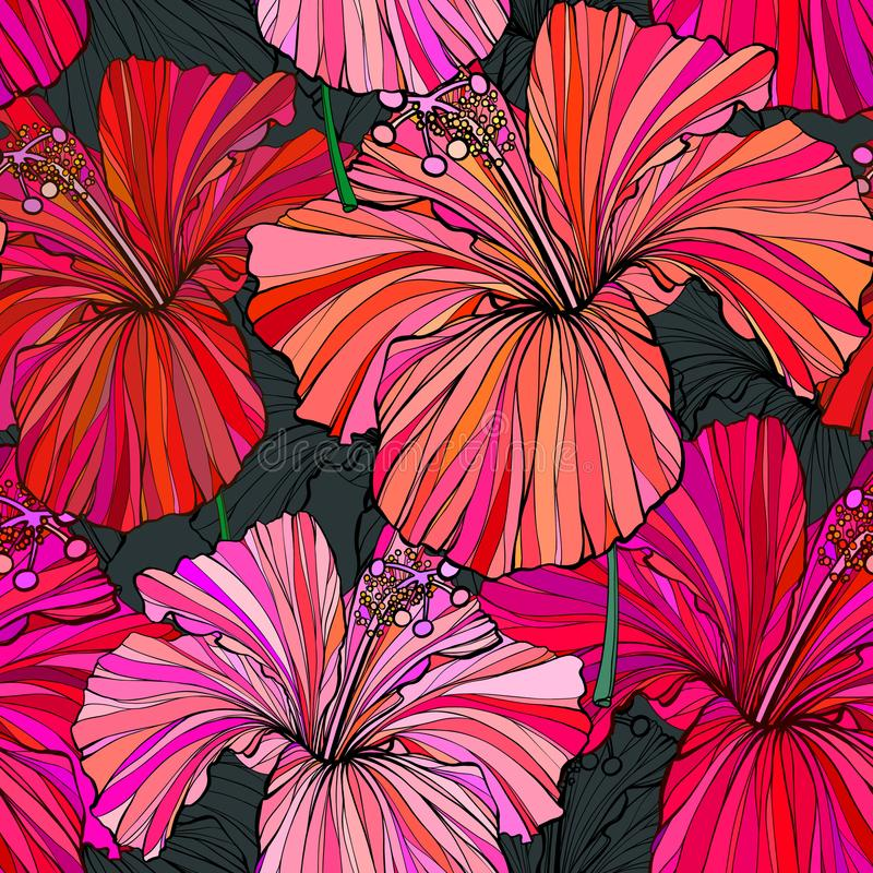 Beautiful seamless floral jungle pattern background. Tropical flowers bright color background. Hibiscus flower realistic royalty free illustration