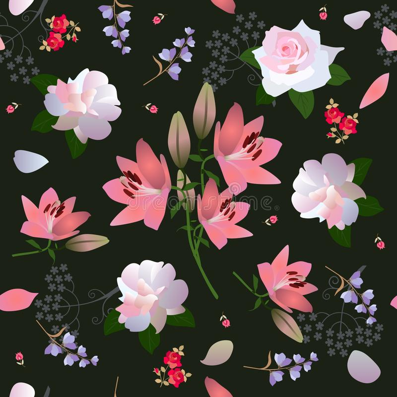 Beautiful seamless floral ornament with white roses, pink lilies, little bell flowers and tiny tulips on black background. Print for fabric stock illustration