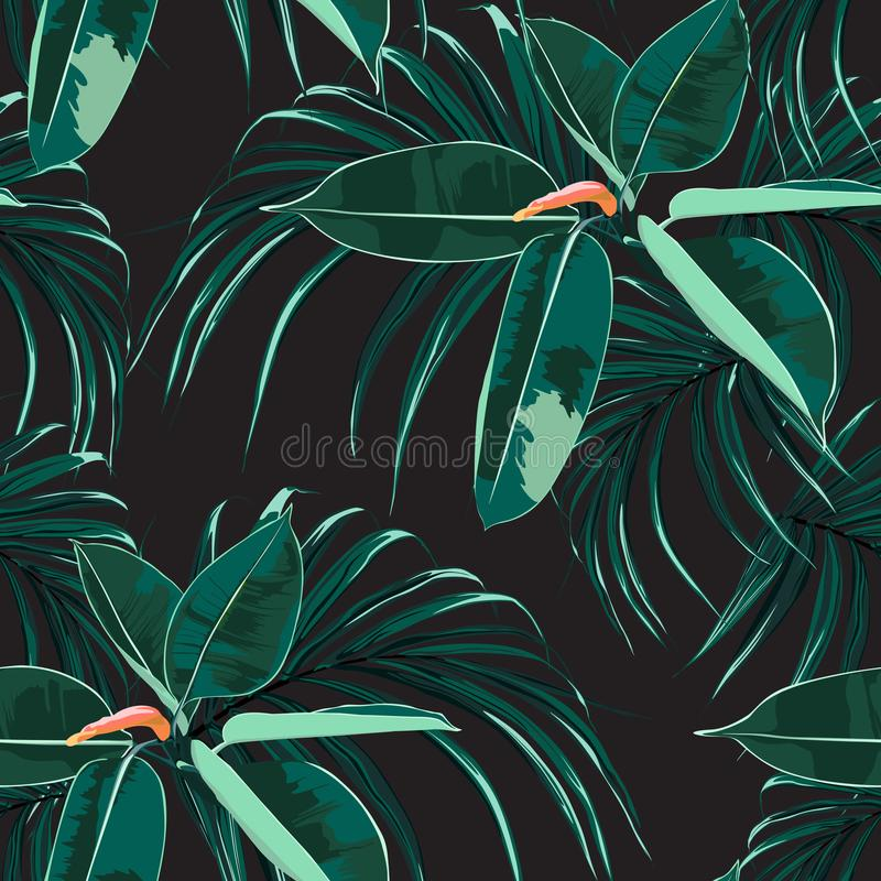 Beautiful seamless floral pattern background with tropical bright ficus elastica and palm leaves. Perfect for wallpapers, web page backgrounds, surface stock illustration