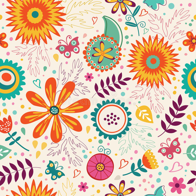 Beautiful seamless floral pattern. Vector royalty free illustration