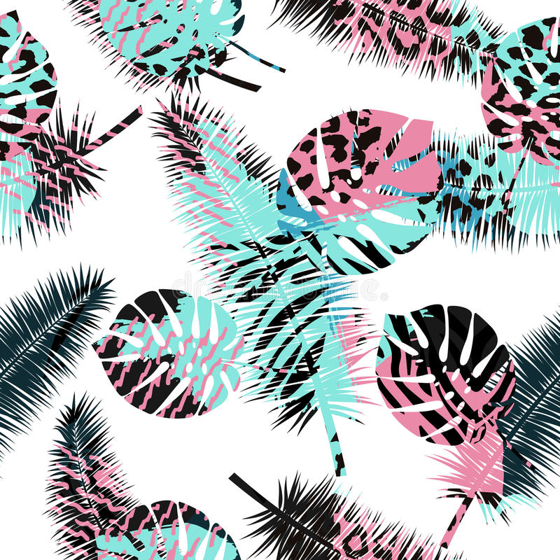 Beautiful seamless floral summer pattern background with tropical palm leaves and animal prints.Perfect for wallpapers, web vector illustration