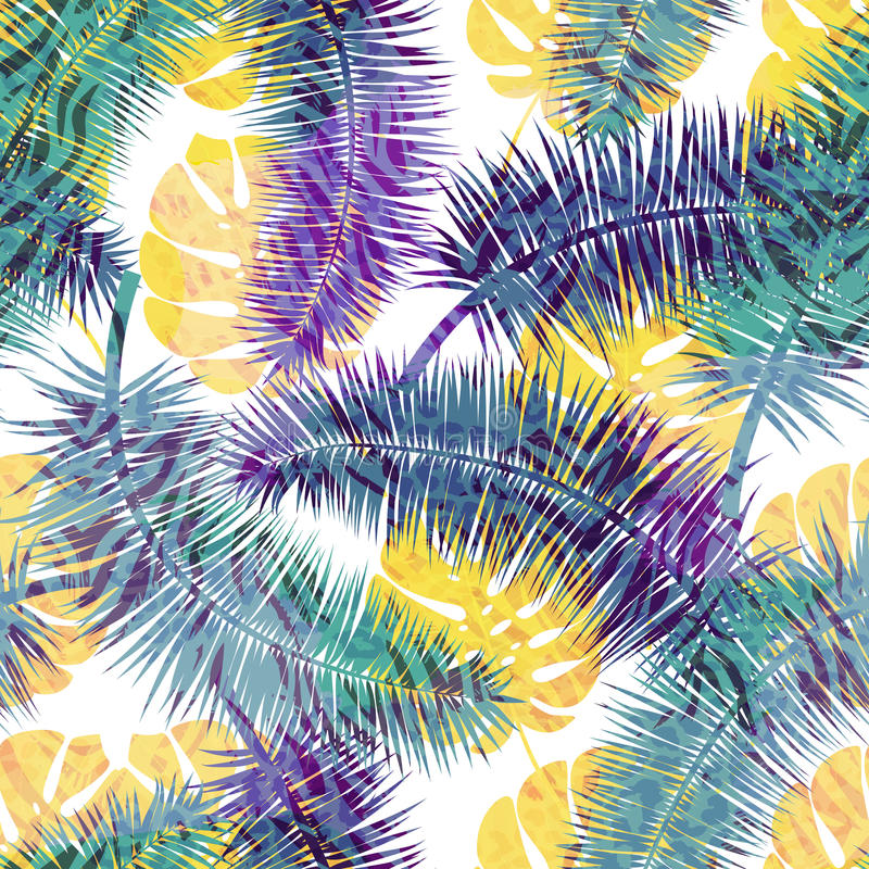 Beautiful seamless floral summer pattern background with tropical palm leaves. Perfect for wallpapers, web page backgrounds vector illustration