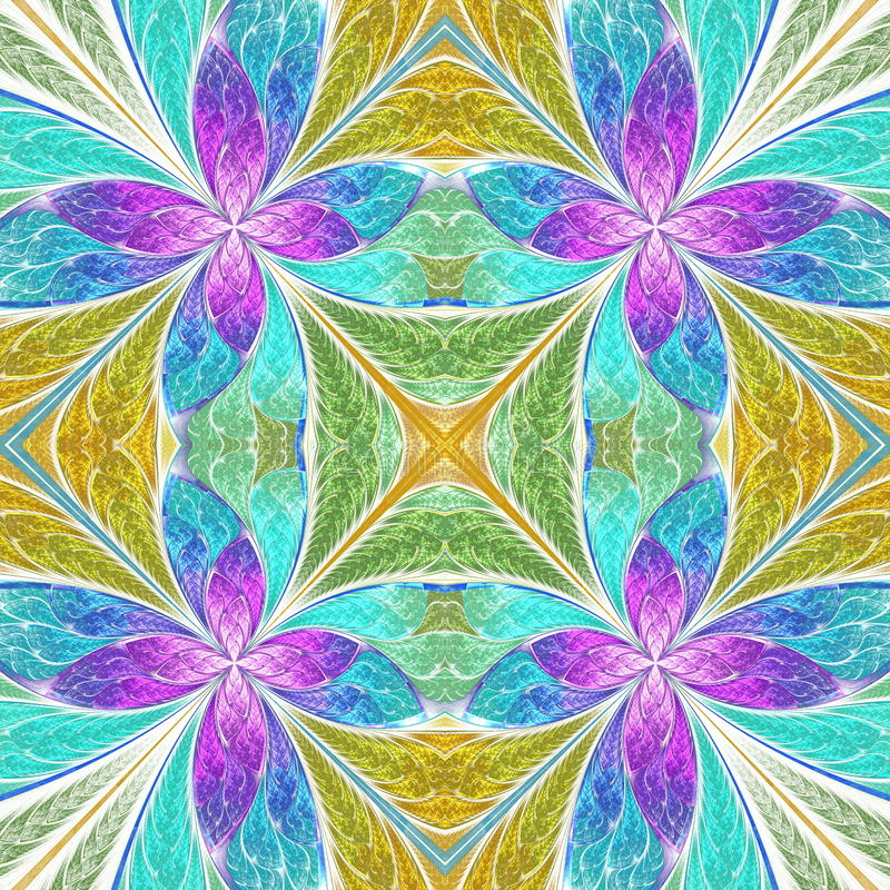 Beautiful seamless flower pattern in stained-glass window style. You can use it for invitations, notebook covers, phone cases, postcards, cards, wallpapers and vector illustration