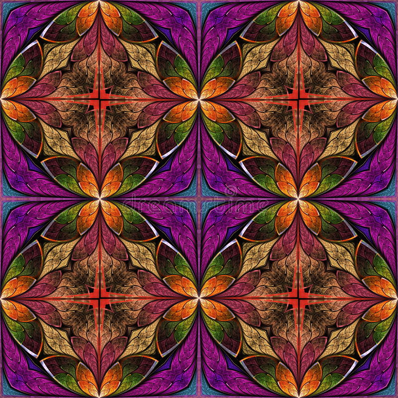 Beautiful seamless flower pattern in stained-glass window style. You can use it for invitations, notebook covers, phone cases, postcards, cards, wallpapers and royalty free illustration