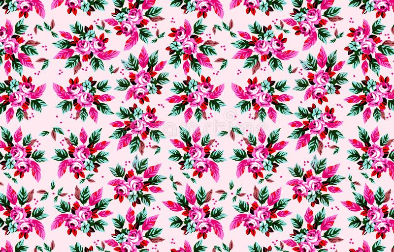 Beautiful seamless illustration flowers pattern, spring summer background. Concept style. Wallpaper, backdrop, room, floor, fabric, flannel, leaf, pink, tree stock images