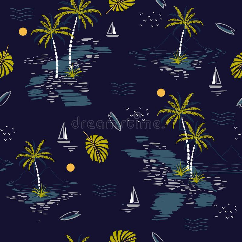 Beautiful seamless island pattern on dark blue background. Lands stock illustration