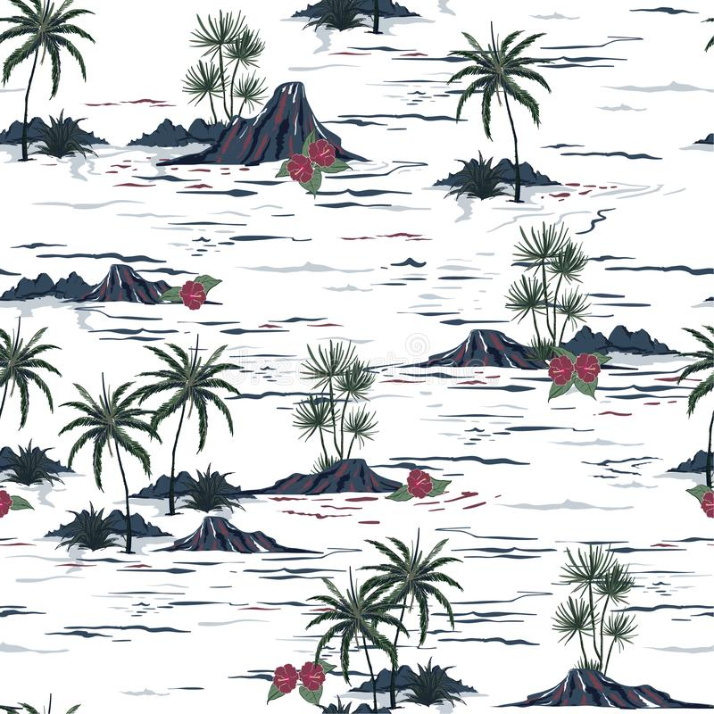 Beautiful seamless island pattern. Landscape with palm trees,be. Beautiful seamless island pattern . Landscape with palm trees,beach and ocean vector hand drawn stock illustration