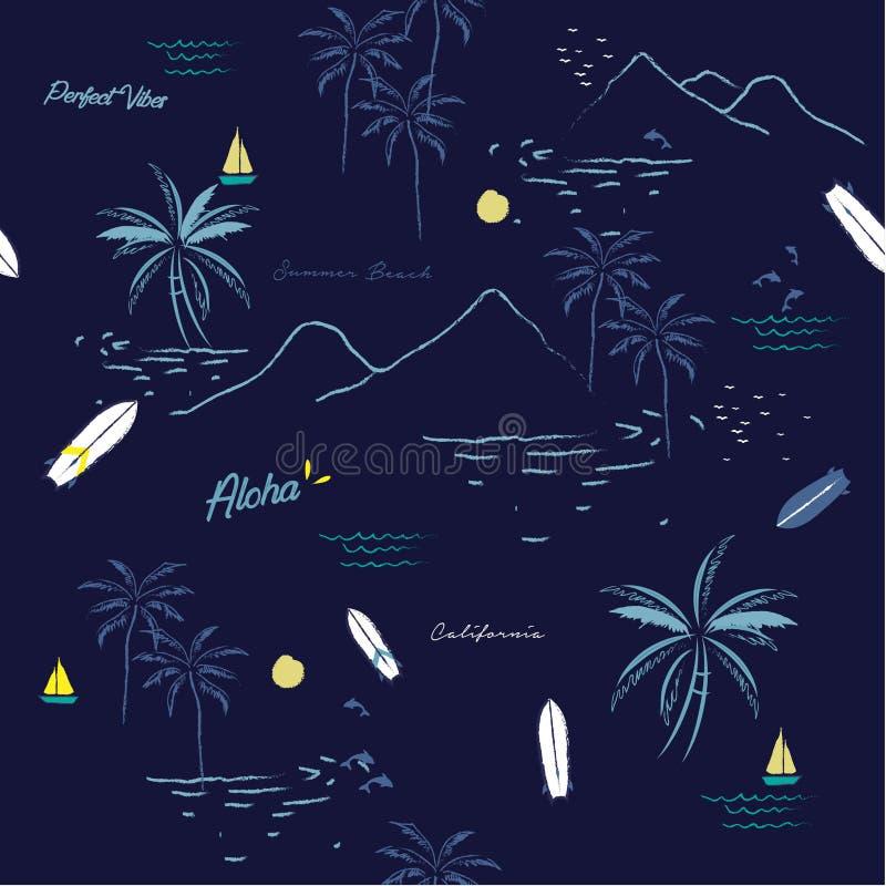 Beautiful seamless island pattern on navy blue background. vector illustration