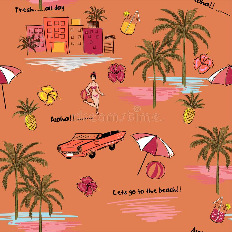 Beautiful seamless island pattern on orange background. Landscape with palm trees,beach and ocean vector. Hand drawn style vector illustration