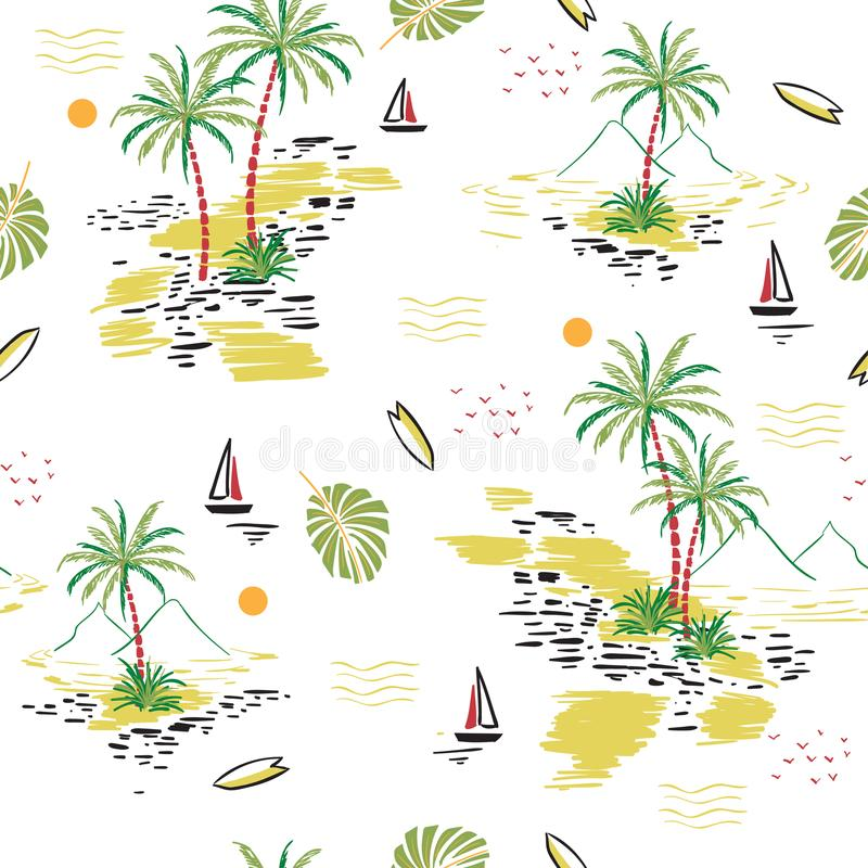 Beautiful seamless island pattern on white background. Landscape royalty free illustration