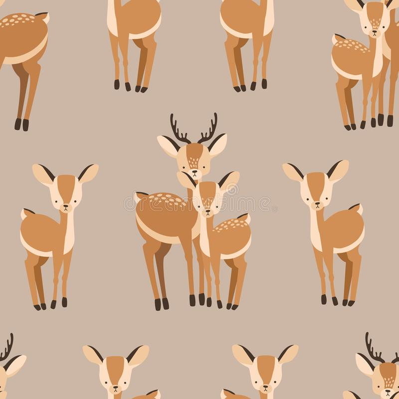 Beautiful seamless pattern with adult and baby deers on brown background. Backdrop with cute and funny cartoon forest stock illustration