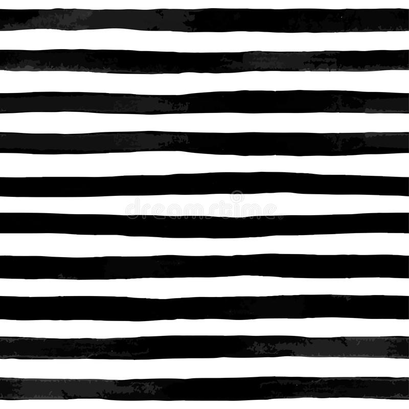 Beautiful seamless pattern with black and white watercolor stripes stock illustration