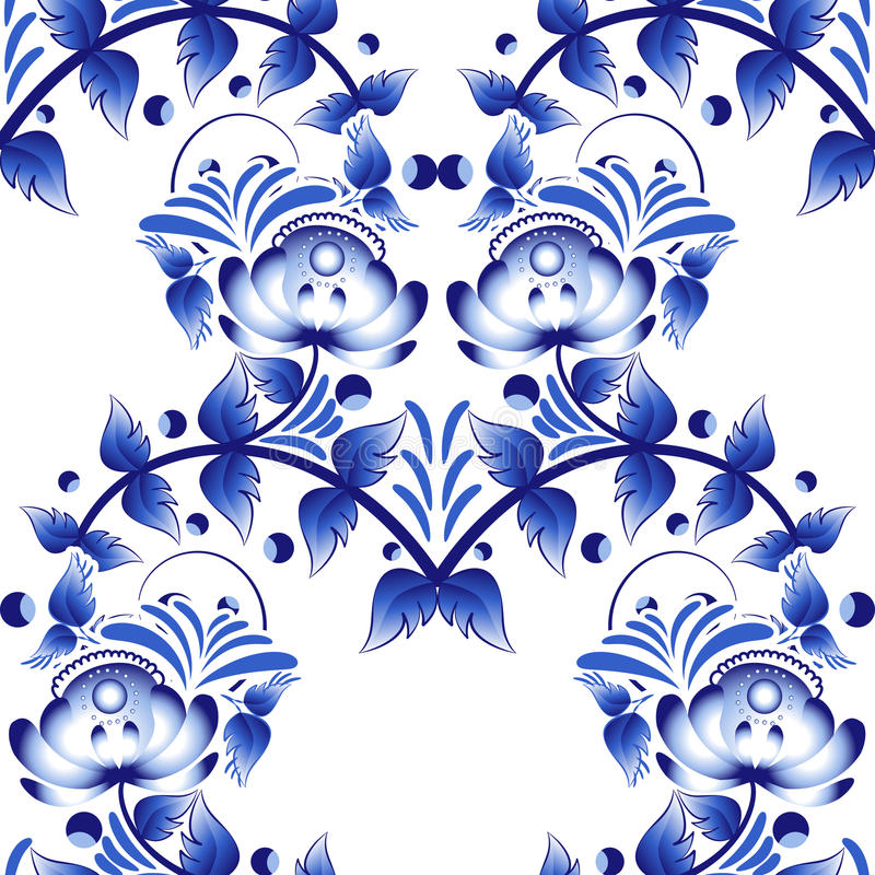 Beautiful seamless pattern with blue flowers gzhel style. vector illustration