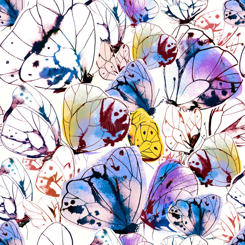 Beautiful seamless pattern with butterflies. Ink and watercolor on wet paper. stock illustration