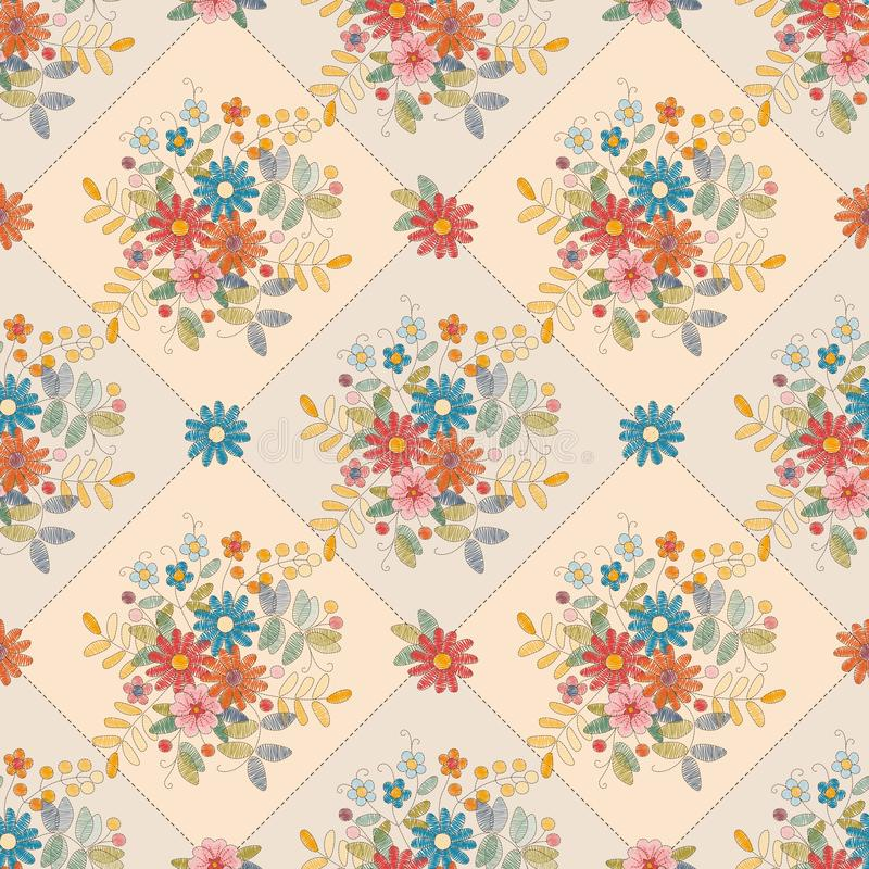 Beautiful seamless pattern with embroidered flowers. Colorful floral embroidery. Print for fabric, textile, wallpaper. Lovely tablecloth vector illustration