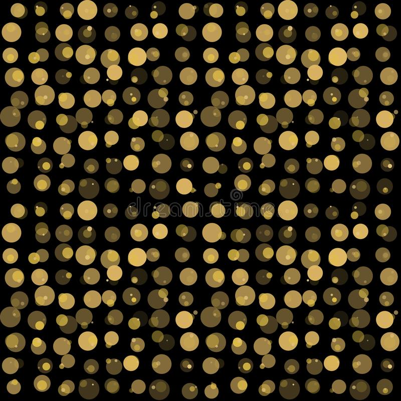 Beautiful seamless pattern with gold glittering circle on black background. royalty free illustration
