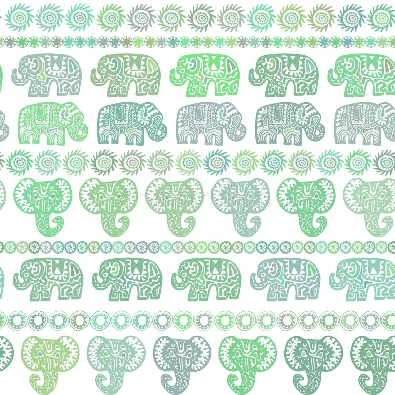 Beautiful seamless pattern Indian Elephant with ornamental strips. Hand drawn ethnic tribal decorated Elephant. olive light green stock illustration