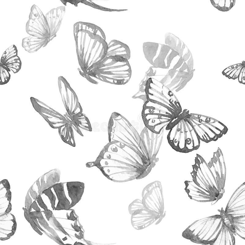Watercolor butterfly pattern stock illustration