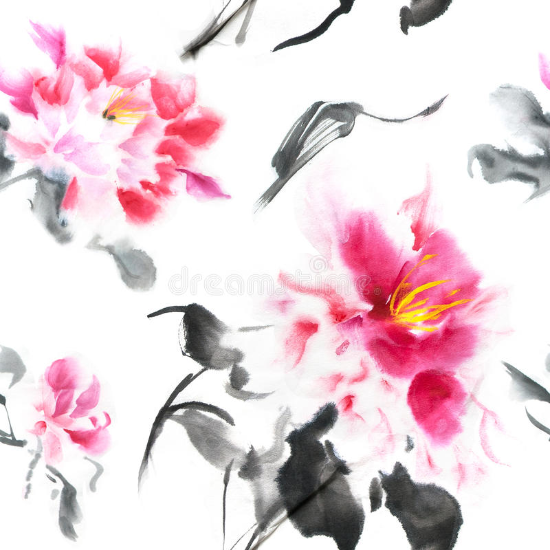 Beautiful seamless pattern with pink peonies painted with ink in Japanese style. Wallpaper with watercolor flowers on. White background. Illustration for fabric royalty free illustration
