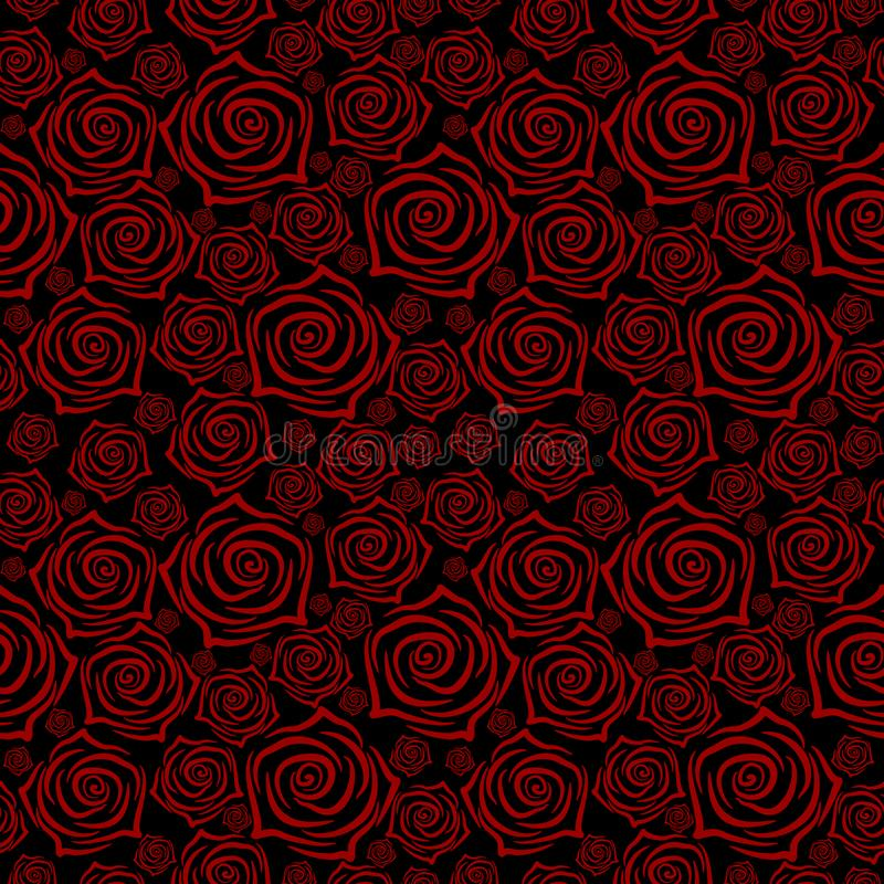 Beautiful seamless pattern with red roses on black background. Vector illustration. stock illustration