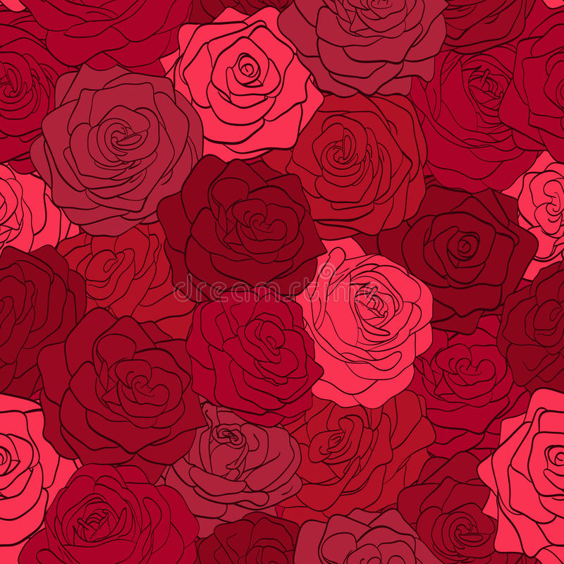 Beautiful seamless pattern in red roses Â‹. Beautiful seamless pattern in red roses with contours. Hand-drawn contour lines and strokes. Perfect for vector illustration