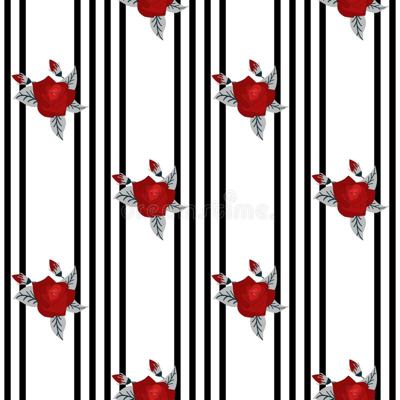 Beautiful seamless pattern of red roses on striped black and white background. design greeting card and invitation of royalty free illustration
