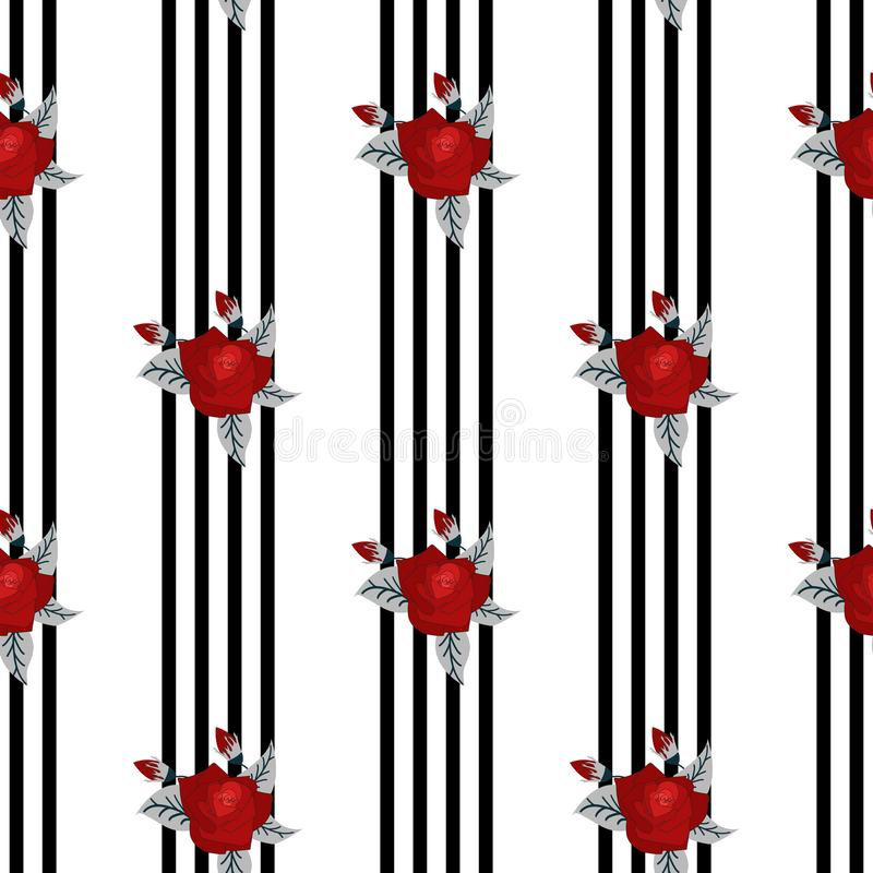 Beautiful seamless pattern of red roses on striped black and white background. design greeting card and invitation of the wedding, vector illustration