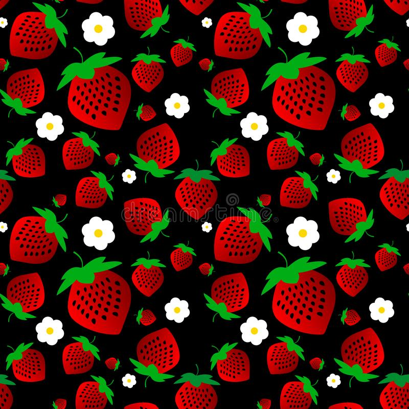Beautiful seamless pattern. red strawberries with white flowers on a black background. Ideal for wallpaper, textiles. Vector stock illustration