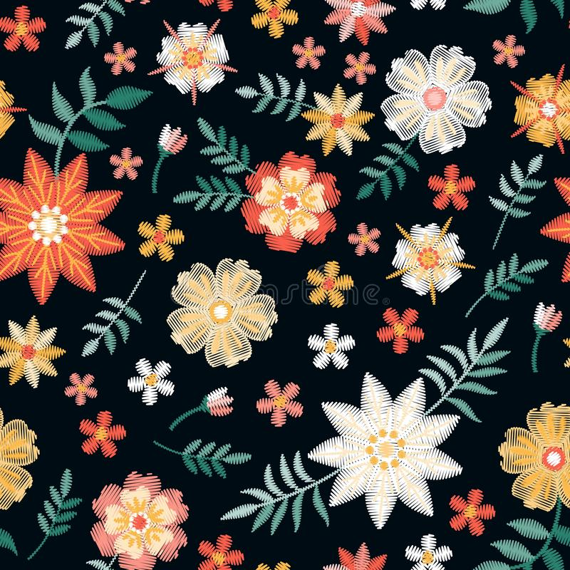 Beautiful seamless pattern with red, yellow and white embroidery flowers on black background. Embroidered print for fabric vector illustration