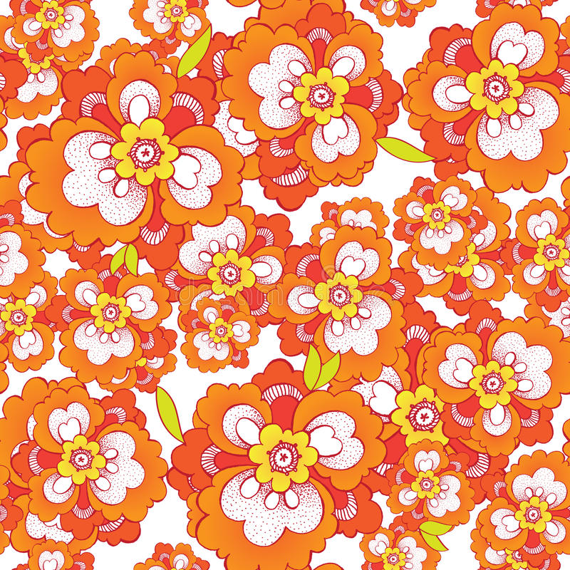 Seamless vector pattern with orange flowers royalty free illustration