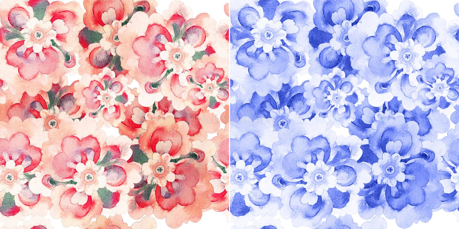 Seamless patterns with watercolor flowers royalty free illustration