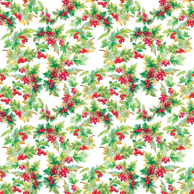 Beautiful seamless pattern in watercolor branches with rowan berries vector illustration