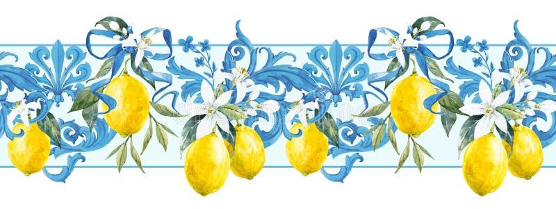 Watercolor lemon pattern royalty free stock photo