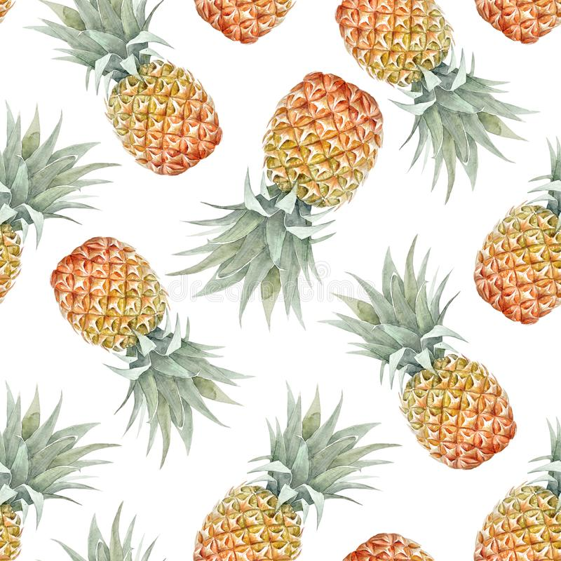 Watercolor tropical pineapple pattern royalty free illustration