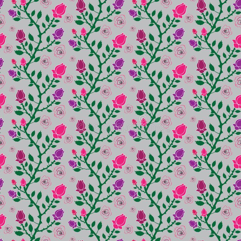 Beautiful pink and purple floral seamless pattern tile stock illustration
