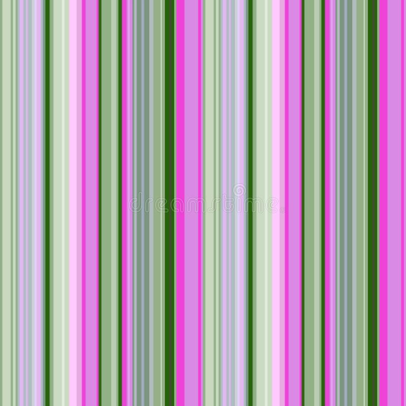 Beautiful seamless striped pattern of different widths, with shades of green and fuchsia, vector. Great for decorating fabrics, textiles, gift wrapping design royalty free illustration