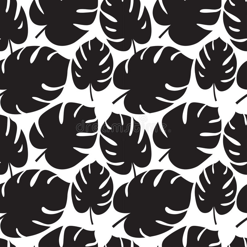 Beautiful seamless tropical jungle floral graphic seamless background pattern with palm leaves royalty free illustration