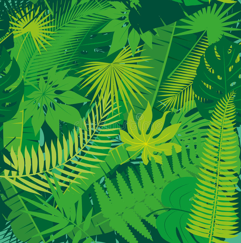 Beautiful seamless tropical jungle floral pattern background with different palm leaves stock illustration