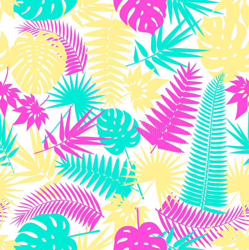 Beautiful seamless tropical jungle floral pattern background with palm leaves. Pop art. Trendy style. Bright colors. stock illustration